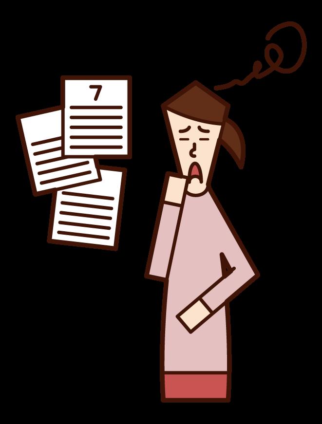 Illustration of menstrual irregularity, amenorrhea, menstrual irregularity (woman)