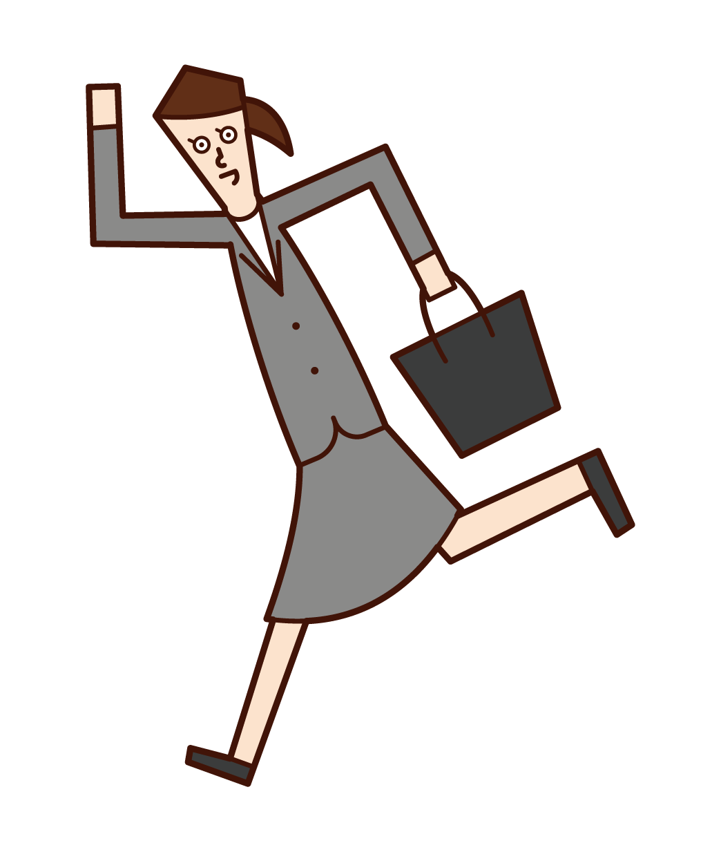 Illustration of a running businesswoman and office worker (female)