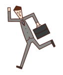 Illustration of a running businessman and office worker (male)