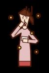 Illustration of allergic rhinitis (female)