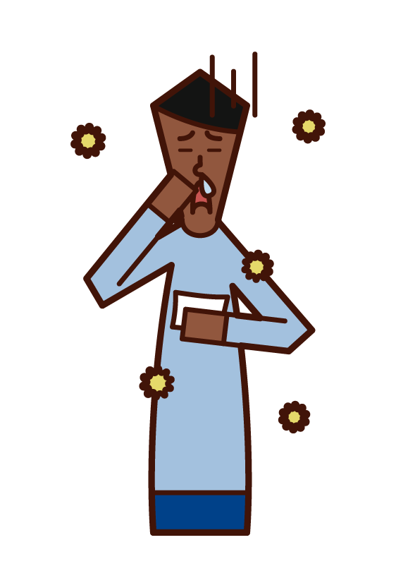 Illustration of allergic rhinitis (male)