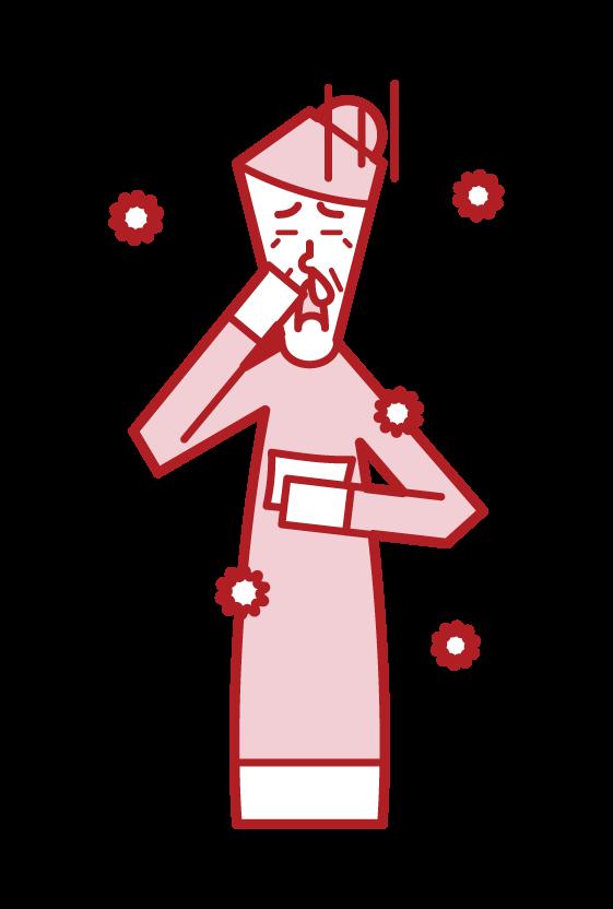 Illustration of allergic rhinitis (grandmother)