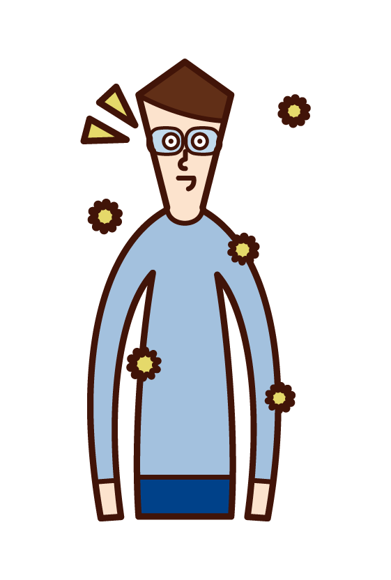 Illustration of a man wearing glasses to combat hay fever