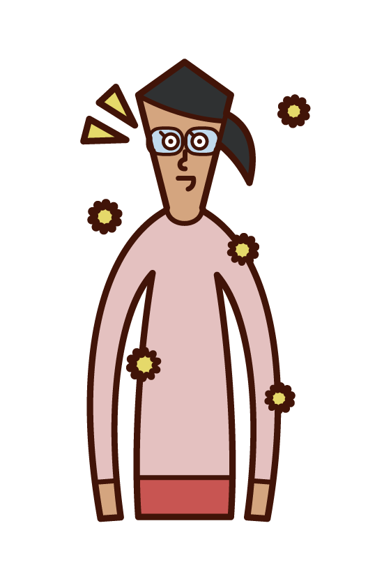 Illustration of a woman wearing glasses to combat hay fever
