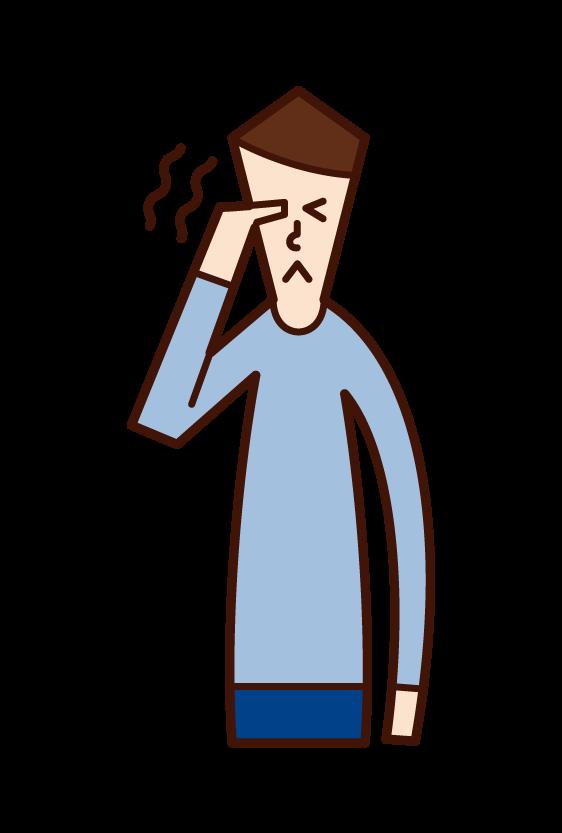 目の痒み・痛み(男性)のイラスト