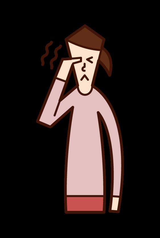 目の痒み・痛み(女性)のイラスト