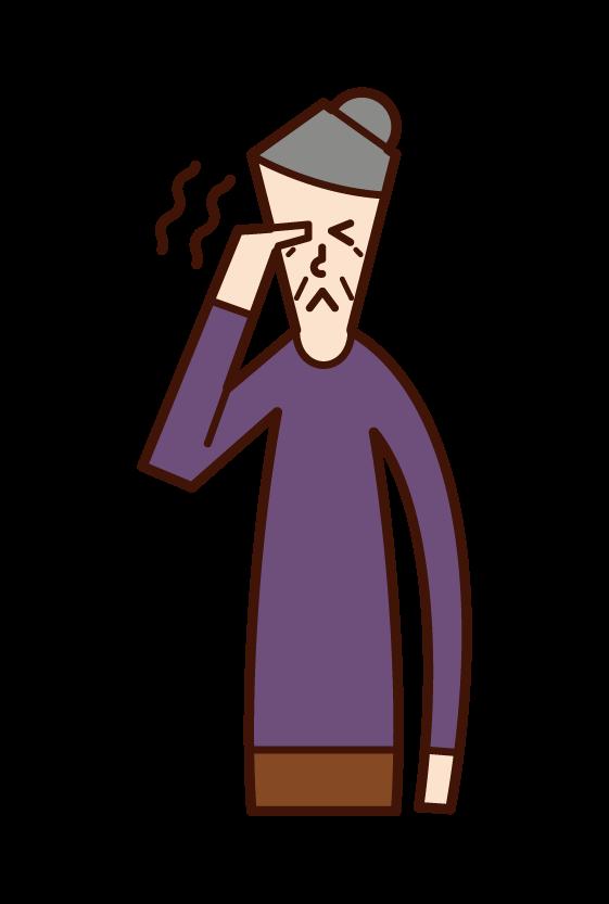 目の痒み・痛み(おばあさん)のイラスト
