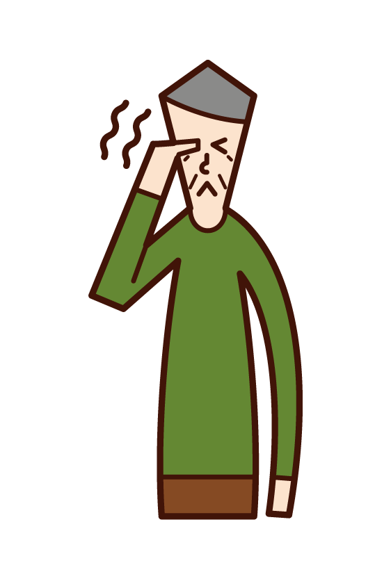 目の痒み・痛み(おじいさん)のイラスト