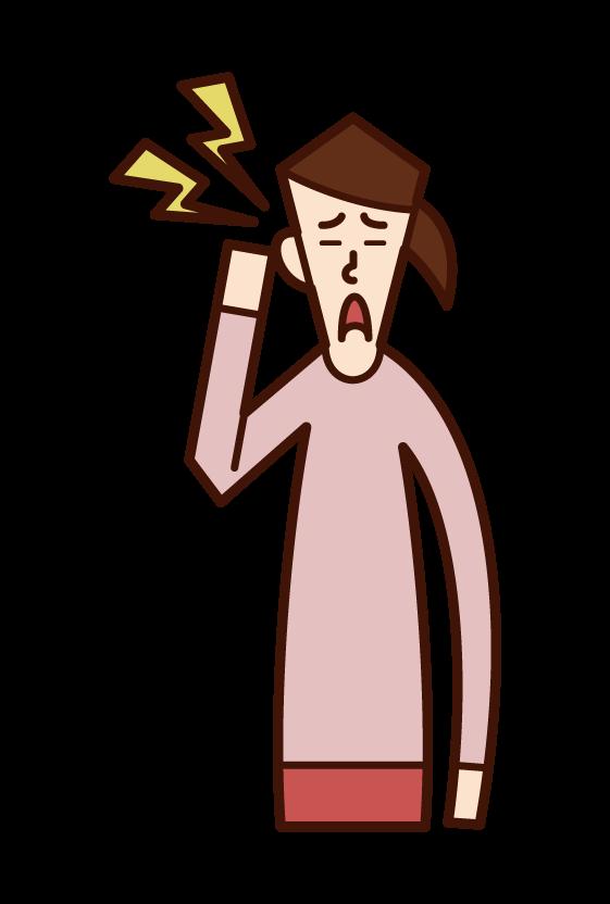 耳の痛み・中耳炎(女性)のイラスト