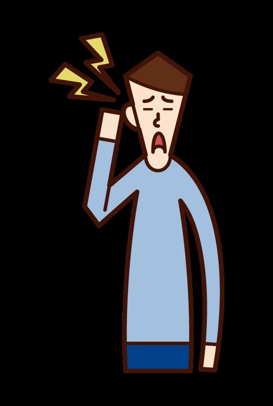 耳の痛み・中耳炎(男性)のイラスト