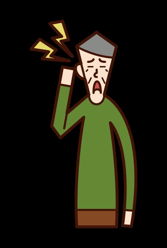 耳の痛み・中耳炎(おじいさん)のイラスト