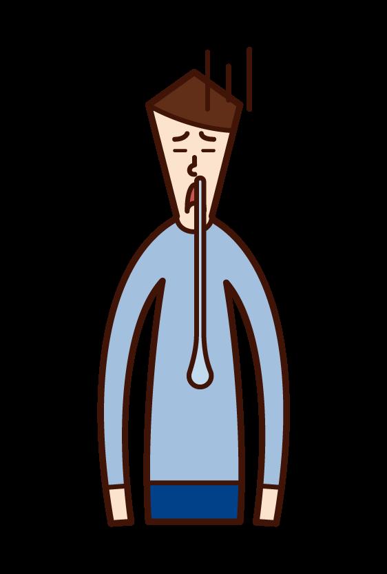 鼻水を垂らしている人(男性)のイラスト