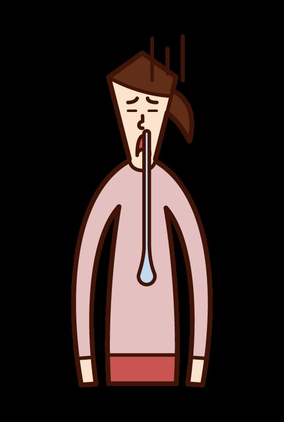 鼻水を垂らしている人(女性)のイラスト