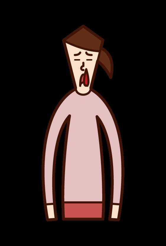 鼻血(女性)のイラスト