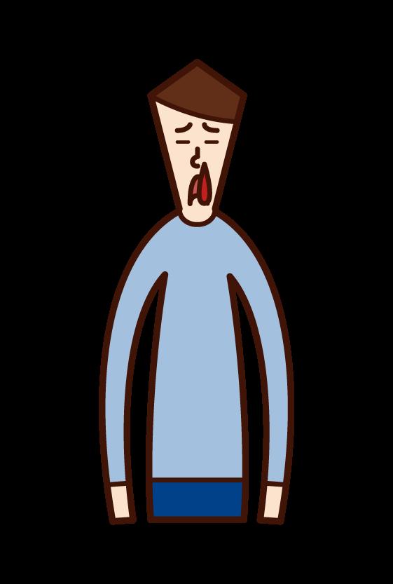 鼻血(男性)のイラスト