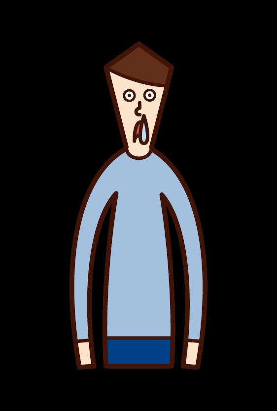 鼻水(男性)のイラスト