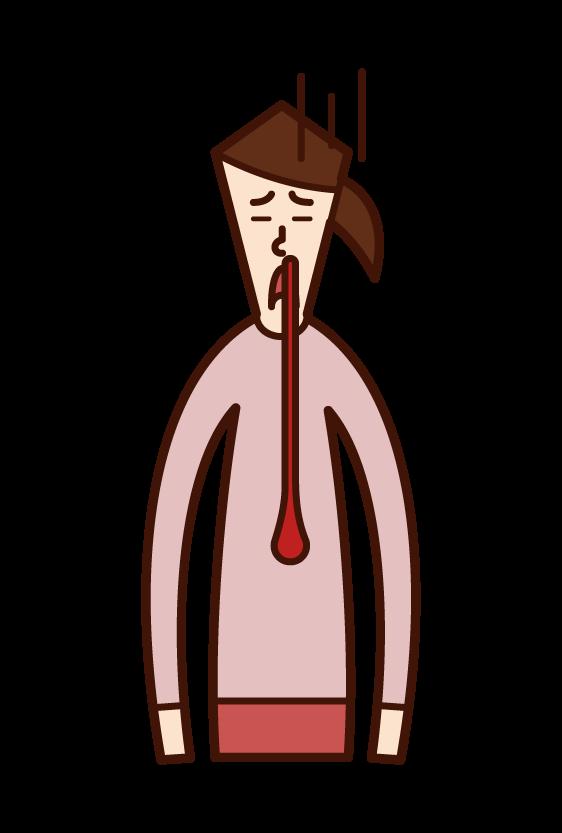 鼻血を垂らしている人(女性)のイラスト