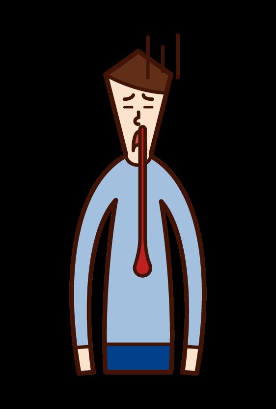 鼻血を垂らしている人(男性)のイラスト