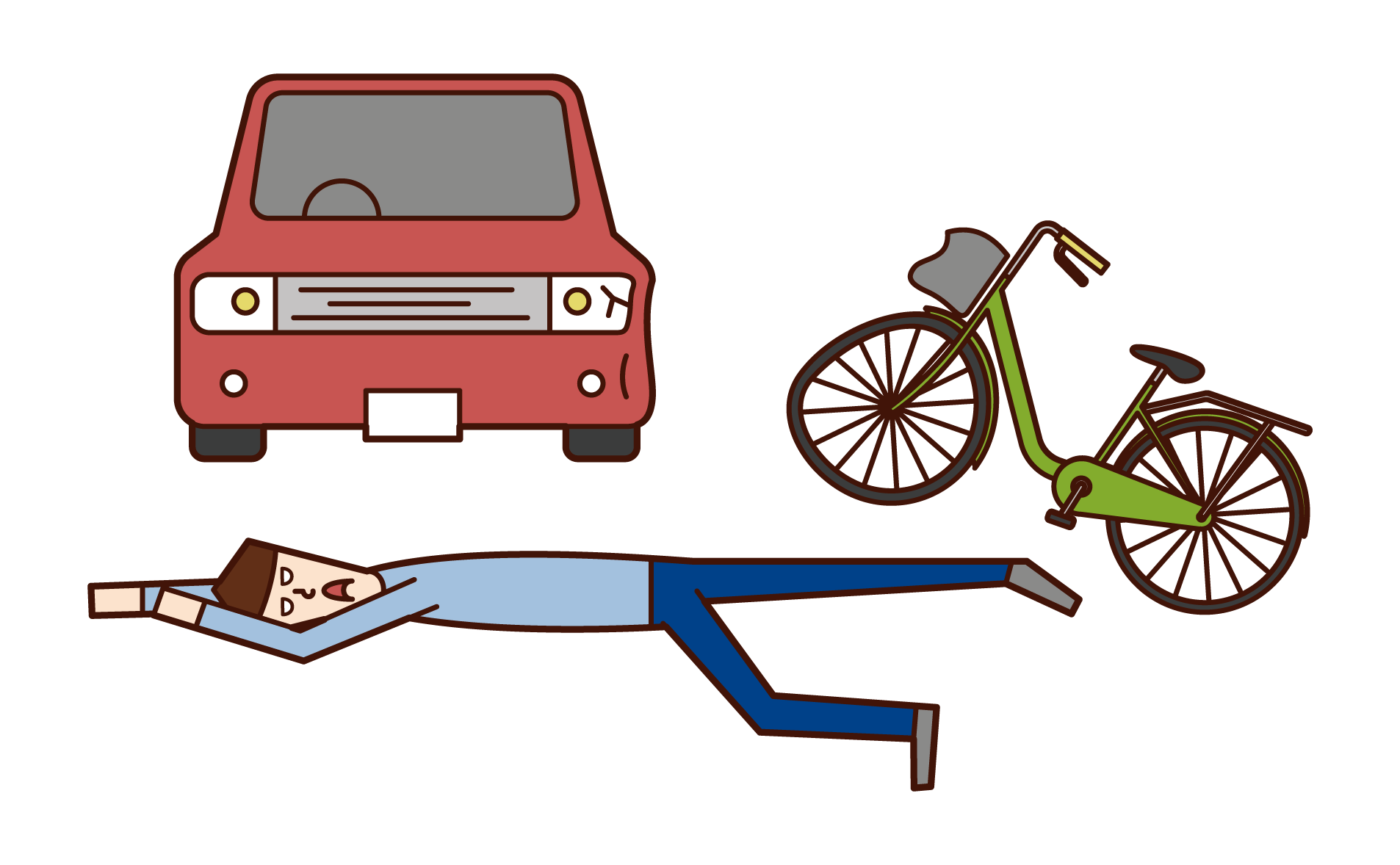 Illustration of a man who is collapsed in a traffic accident