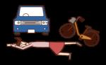 交通事故で倒れている人(女性)のイラスト