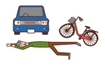 Illustration of a person (old man) who is collapsed in a traffic accident