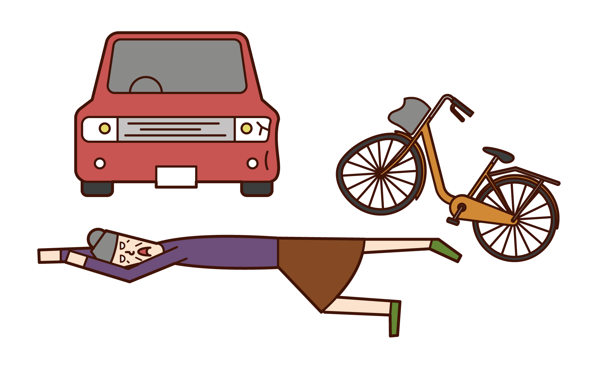 Illustration of a person (grandmother) who is collapsed in a traffic accident