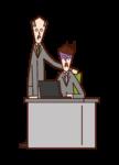 上司にリストラを宣告された人(男性)のイラスト