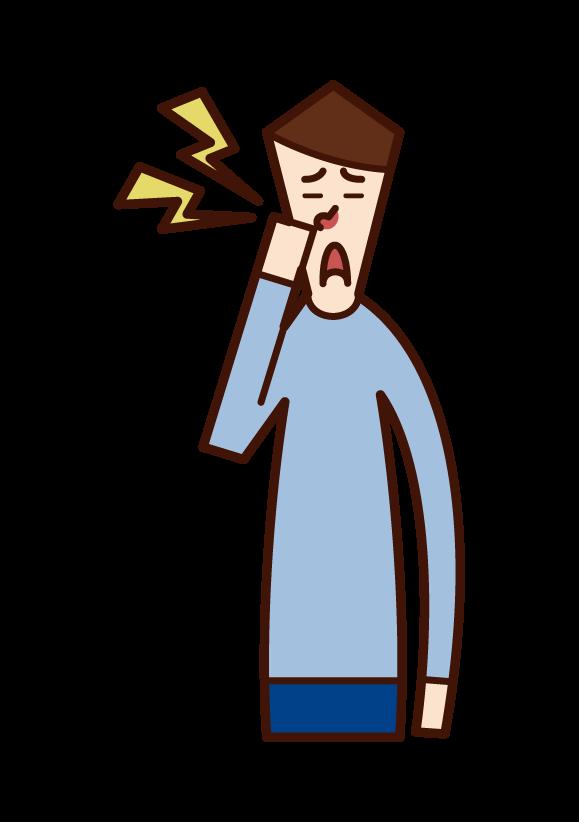鼻の痛み(男性)のイラスト