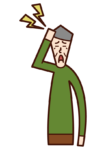 Illustration of head pain (old man)
