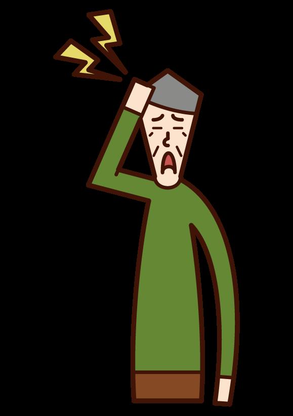 頭の痛み(おじいさん)のイラスト