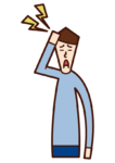 頭部疼痛(男性)的插圖
