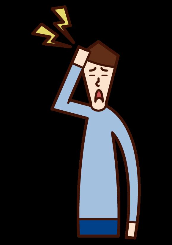 頭の痛み(男性)のイラスト