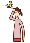 頭の痛み(女性)のイラスト