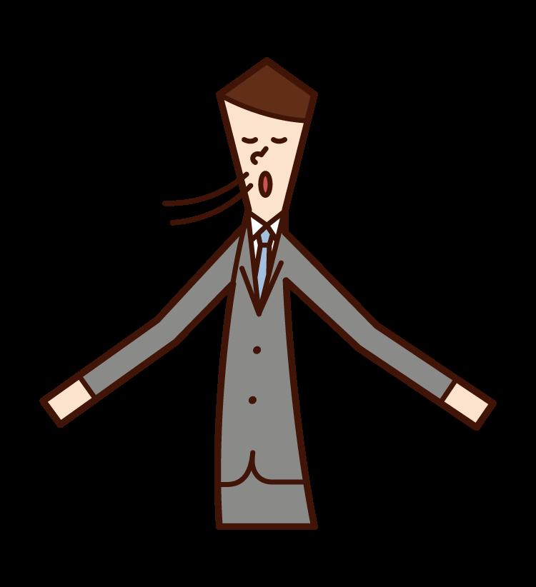 Illustration of deep breath (male)
