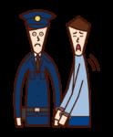 逮捕される犯人(男性)のイラスト