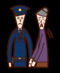 Illustration of the arresting criminal (grandmother)