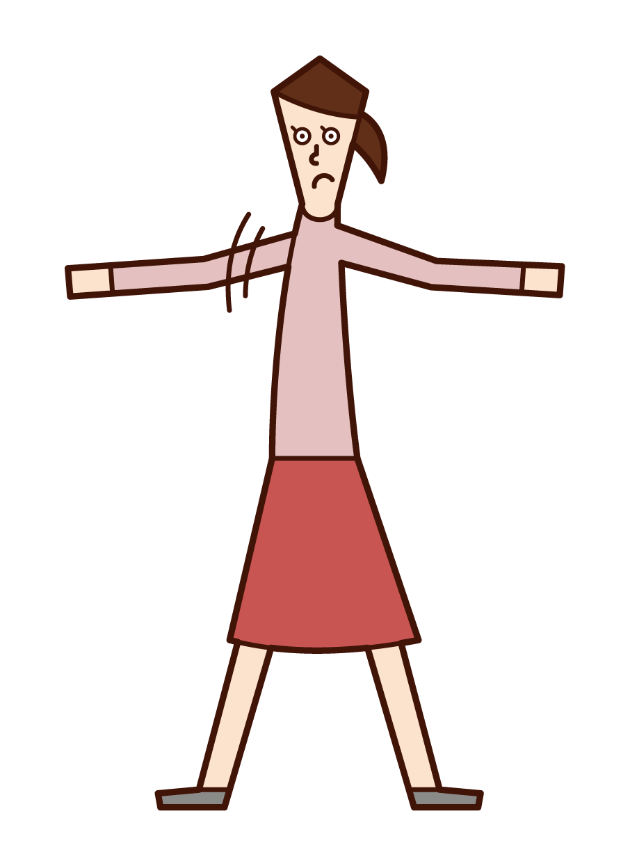 庇う人・勇気のある人(女性)のイラスト