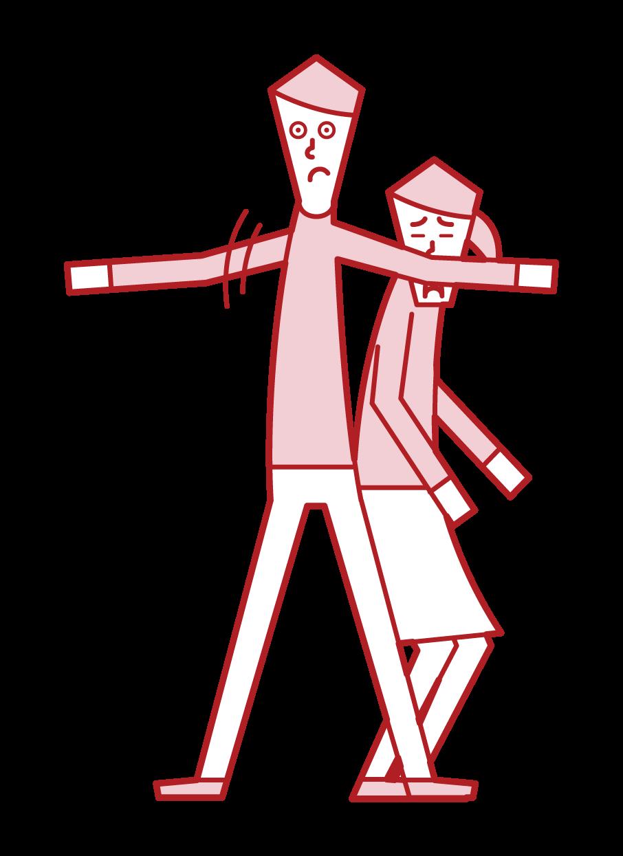 庇う人・勇気のある人(男性)のイラスト