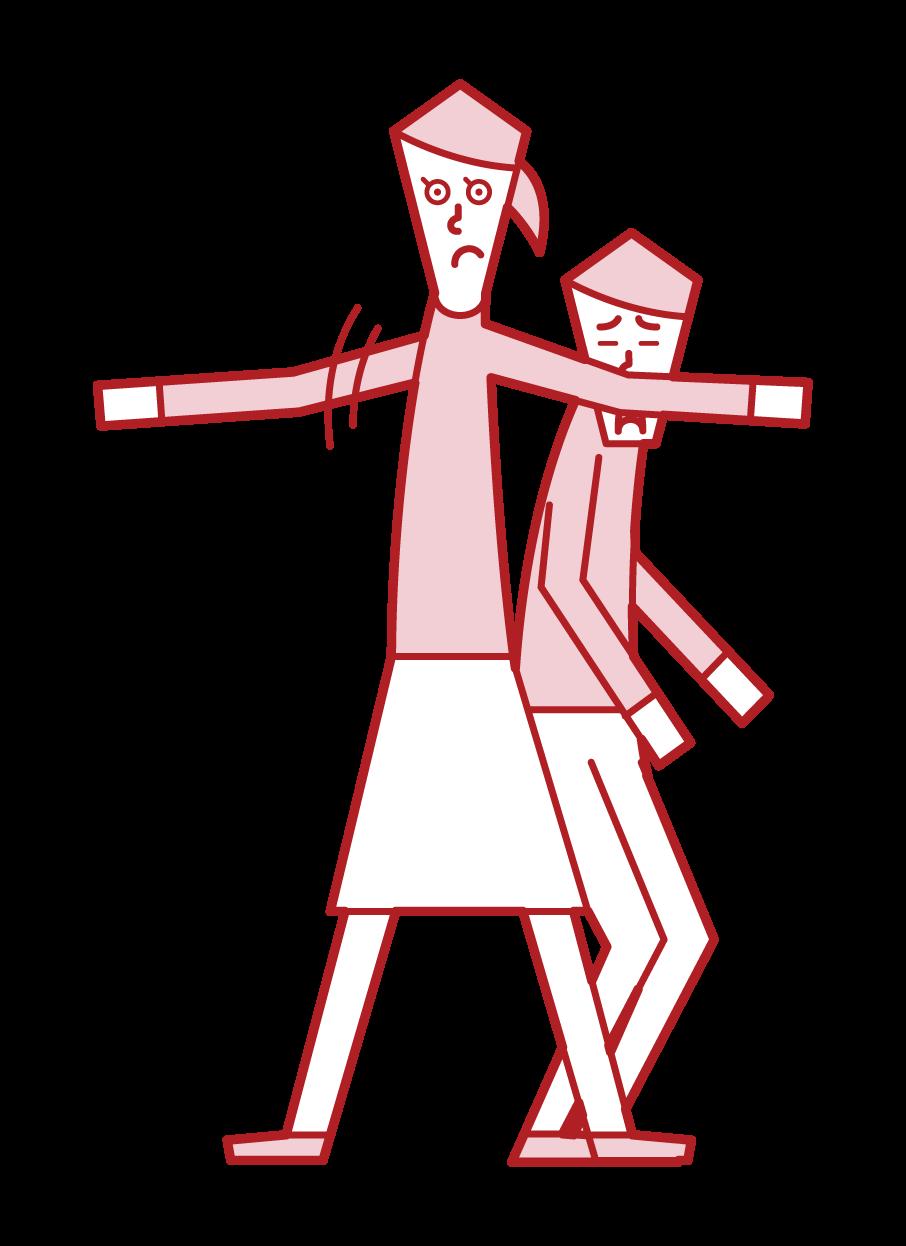 庇う子供・勇気のある子供(女子)のイラスト