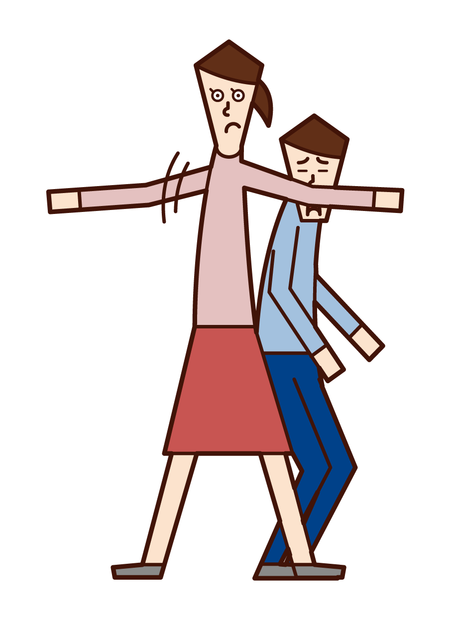 Illustration of a child who protects and a child with courage (girl)