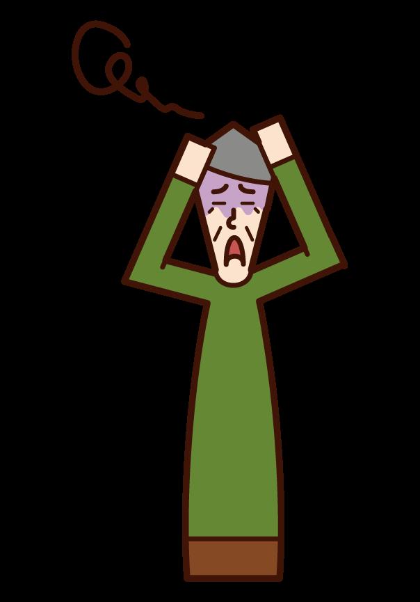 混乱する人・パニックを起こす人(おじいさん)のイラスト
