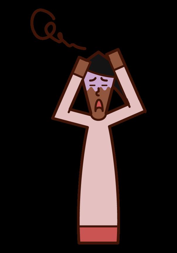 混乱する人・パニックを起こす人(女性)のイラスト