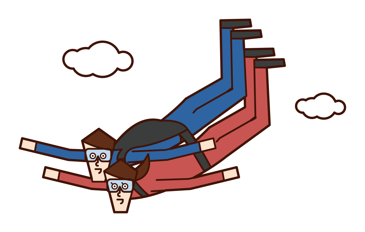 Tandem Skydiving Illustration