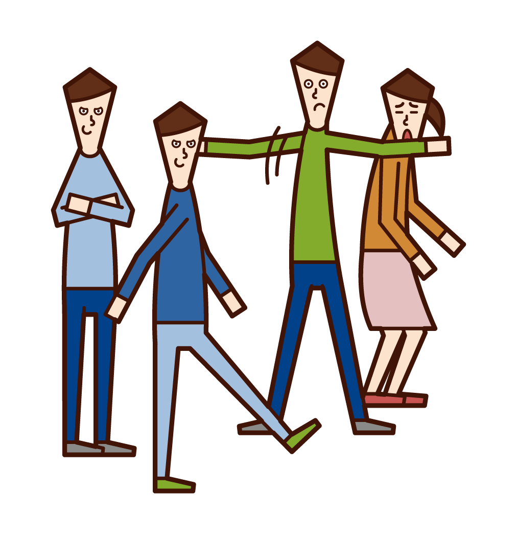 Illustration of a child (boy) stopping bullying