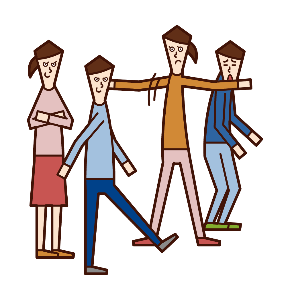 Illustration of a child (girl) stopping bullying