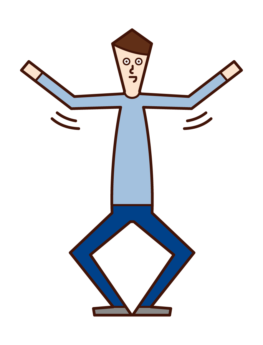 Illustration of an exercise (male) waving his arms and bending and extending his legs