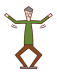 Illustration of an exercise (old man) waving his arms and bending and stretching his legs