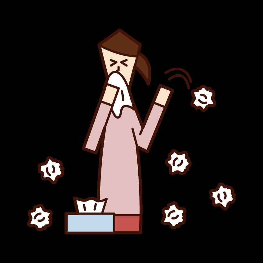 종이 타월을 많이 사용하는 사람들 (여성)의 그림
