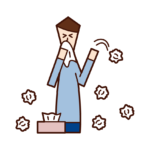 Illustration of a man who uses a lot of tissues