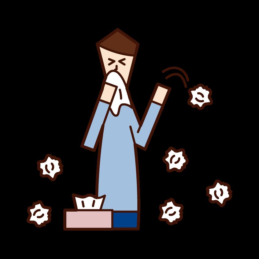 종이 타월을 많이 사용하는 사람 (남성)의 그림